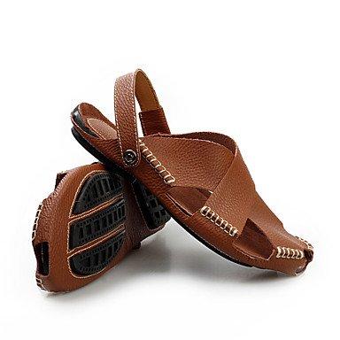 Herren Sandalen Frühling Sommer leichte Sohlen Rindsleder Casual flachem Absatz Hellbraun Schwarz Weiß Schuhe Light Brown