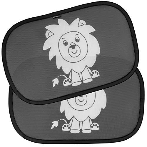 Kinder Auto-Sonnenschutz, neue verbesserte Version - Selbsthaftende Sonnenblenden zum Schutz for schädlicher UV-Strahlung - Baby Sonnenschutz für Seitenfenster - Einheitsgröße (2 Stück) (Motiv Löwe)