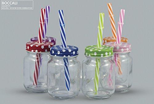 Lotto pezzi 24 bomboniera barattolo boccale in vetro con cannuccia e tappo pois, 6 colori assortiti, dimensione cm 5x15 (inclusa cannuccia), portaconfetti (ckbc5941)