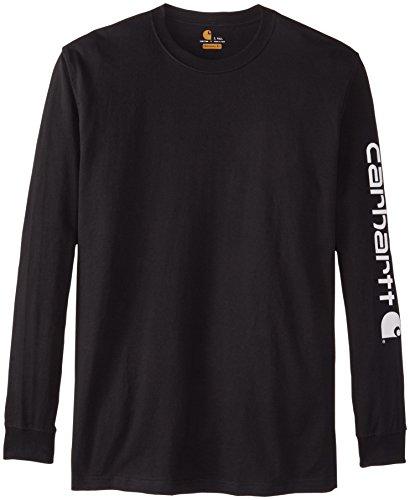 Carhartt Herren Big & Tall Signature-Sleeve Logo Longsleeve T-Shirt - Schwarz - XXX-Large Hoch
