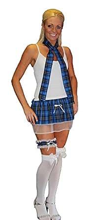 Tartan Pleated Tutu Skirt Neck Tie & Garter Robert Burns Night Fancy Dress[Blue Tartan,Neck tie]