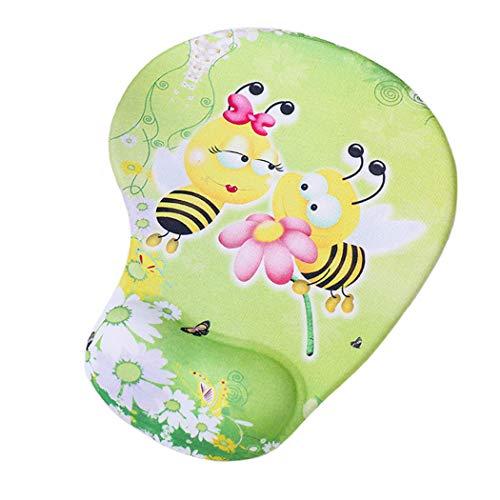 Niedliches Mauspad mit Handgelenkstütze, niedliche Tiere, Katzenbienen-Mauspad, weiches Kissen, Memory-Schaum, Handgelenkauflage, Gel-Pad, rutschfeste PU-Unterseite Biene