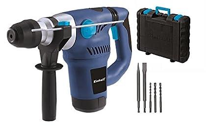 Einhell BT-RH 1500 E - Pack con martillo electroneumático, brocas, cincel y maletín, cabezal SDS plus, fuerza de percusión 4 J, 1500 W, 230 V, color azul y negro