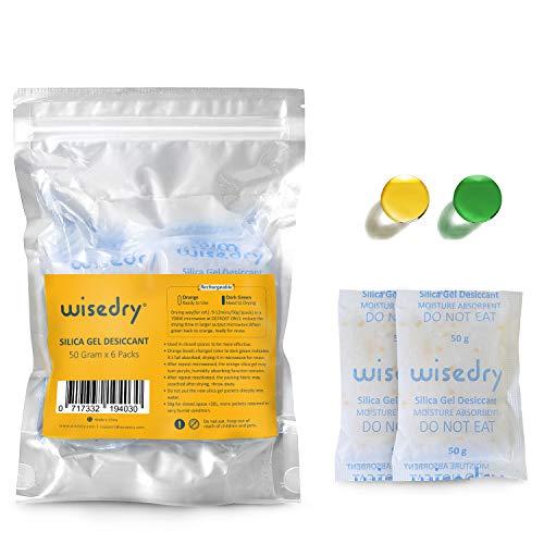 Wisedry 50 Gramos [6 Paquetes] Gel De Sílice bolsitas
