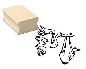 Cachet holzstempel tampon motif cigogne et bébé «sage» scrapbooking-gaufrage