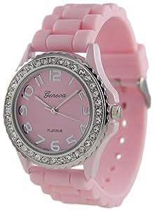 Geneva Platinum Women's 6886.PNK Pink Silicone Quartz Watch with Pink Dial