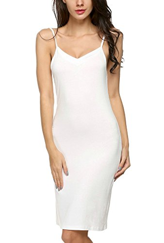 Avidlove Damen Dessous Klassische sexy Neglige Unterrock mit Trägern (M(40-42), Weiß) - Langes Kleid Mit Sexy Dessous