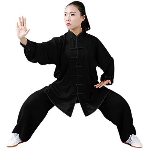 BOZEVON Tai Chi Einheitliche Kleidung - Chinesische Traditionelle Qi Gong Kampfkunst Shaolin Langarm Fitness Tragen Trainingsanzug Für Mann Frauen, Schwarz, EU L=Tag XL