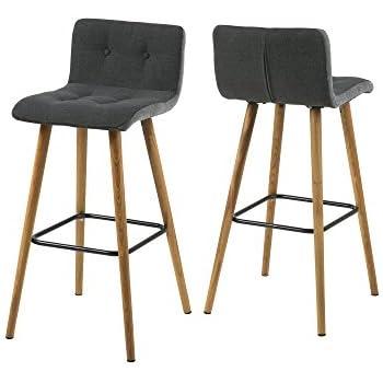 AC Design Furniture 60491Lot de 2tabourets de bar Charlotte, pages Gris clair, Plastique De Boutons Gris foncé/gris