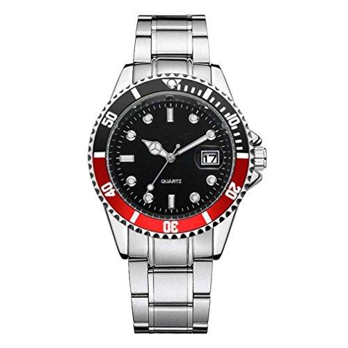 Fittingran orologio uomo con calendario orologio da polso analogico al quarzo sportivo con datario in acciaio inossidabile (rosso)