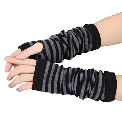 Tongshi Guantes invierno muñeca del brazo calentador de la mano de punto largo sin dedos manopla (Negro)