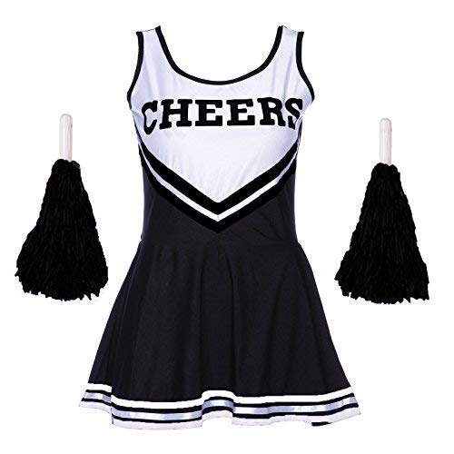 Travestimento da redstar costume da cheerleader con pompon – costume da sport high school musical halloween outfit – 6 colori/taglia 6 – 16