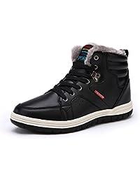 Eagsouni® Herren Schneestiefel Warm Gefütterte Winterschuhe Leder Wasserdicht Kurzschaft Stiefel Outdoor Winter Boots