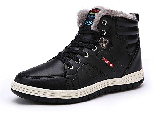 Eagsouni® Herren Schneestiefel Warm Gefütterte Winterschuhe Leder Wasserdicht Kurzschaft Stiefel Outdoor Winter Boots Schwarz