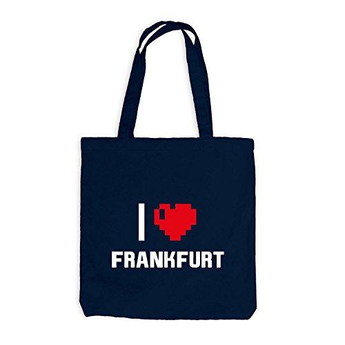 Jutebeutel - I Love Frankfurt - Deutschland Reisen Herz Heart Pixel Navy