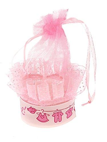 Piccoli monelli ♚portaconfetti nascita battesimo bomboniera bambina conf. da 7 pezzi scatolino rosa