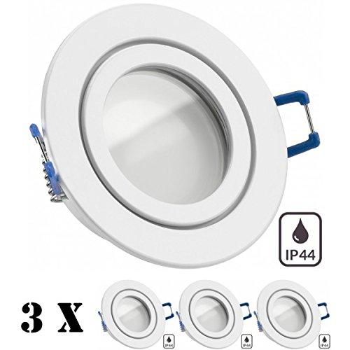 3er IP44 LED Einbaustrahler Set Weiß mit LED GU10 Markenstrahler von LEDANDO - 5W - warmweiss - 120° Abstrahlwinkel - Feuchtraum / Badezimmer - 35W Ersatz - A+ - LED Spot 5 Watt - Einbauleuchte rund