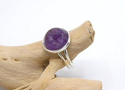 Bague pierre d'améthyste argenté, bague réglable améthyste pierre de gemme - bijoux en pierre naturelle