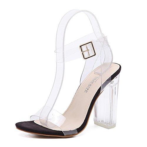 High Heels Sandaletten Transparente Knöchelriemchen Sandalen Absatz cm Offene Abendschuhe Kristall Damen Schwarz - Pumps Open Schwarz Toe