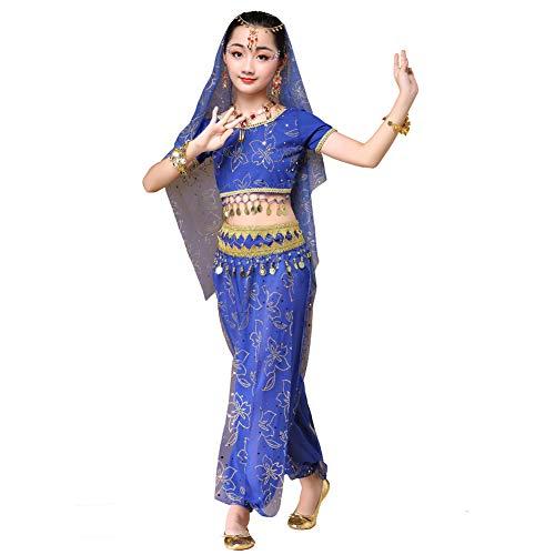 Wgwioo Bauchtanz Kostüm für Mädchen, Indien Araber Prinzessin Halloween Outfit für Kinder,Blue,XL (Indien Prinzessin Kostüm)