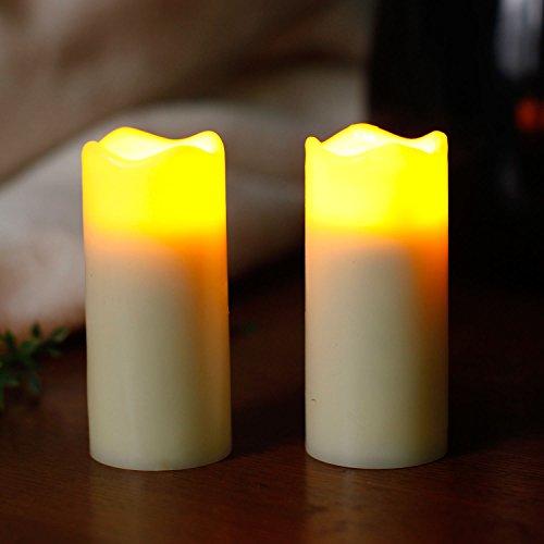 LED Votiv Kerzen, LED Kerzen Flammenlose Kerzen Licht Lampe Zuhause Hochzeit Party Dekorationen Stumpkerze mit Timer, Echtes Wachs, Batteriebetrieben 3,5x7,6 cm(1,375x3 Zoll), Elfenbein, 2 Stück