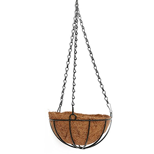 QHGstore Eierschale Hängende Wand Blumen Korb Coco Liner Finial Hanging Basket hängender Korb (Wand-korb Pflanzer)