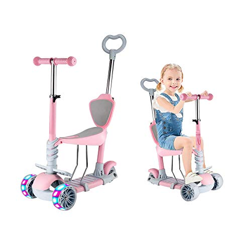 Baobë 5-in-1 Kinder Roller Scooter,Kinderscooter zum Laufenlernen LED Räder, Abnehmbarem Sitz, Höheverstellbare Lenkerfür Kinder von 2-6Jahren