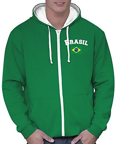 Coole-Fun-T-Shirts Brasilien Sweatshirtjacke Varsity Jacke Green, Gr.L