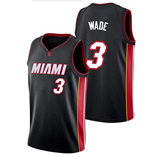 YIXUAN Herren Jersey Trikot Miami # 3 Dwyane Wade Swingman Basketball Trikot (Schwarz &Rot, M(48)) Dwyane Wade Jersey
