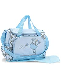 Baby Bucket Baby Diaper Nappy Changing Baby Diaper Bag/Baby Bag/Mummy Bag/Handbag New Giraffe Bag (L. Blue Giraffe...