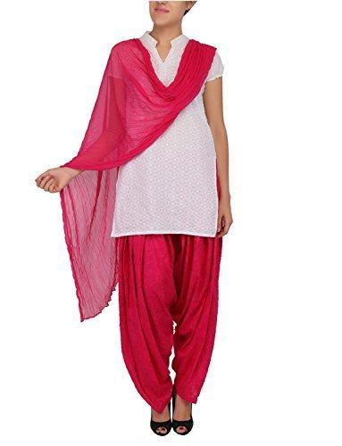 Womens Cottage Women's Fuchsia Pure Cotton Jacquard Semi Patiala Salwar & Chiffon Dupatta Stole Set with Lace