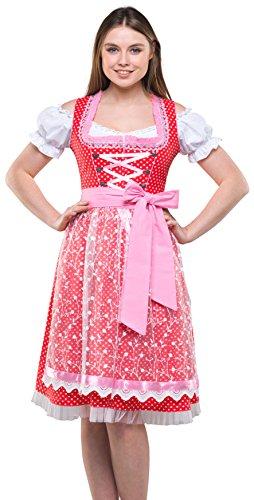 Dirndlspatz Damen Dirndl Trachtenkleid Rot Weiß 3 TLG mit Spitzenschürze und Bluse Midi Länge Gr 46