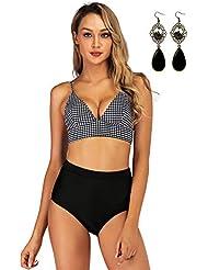 ec4282f79a UUAISSO Femme Bikini Deux Pièces Maillots Push Up Taille Haute Bikini  Halter Maillots de Bain Plage