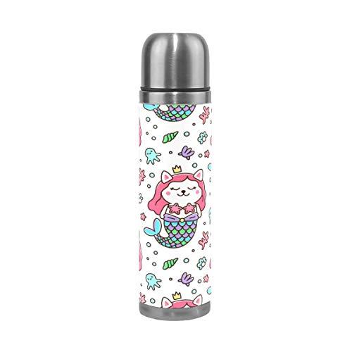 frau Kostüm Krone Kraken Seestern Perle Muschel Koralle 0,5 Liter Vakuum Isolierte Edelstahl Thermoflasche ()