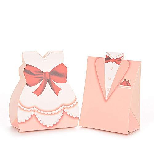 FUGL Süßigkeitskästen Rosafarbene Hochzeitskleider 100 Pc/Satz Bevorzugungs-Geschenk-Kasten Parteibevorzugungskasten, Gepasst Für Hochzeitsfest Brautparty Gartenfest Feiern