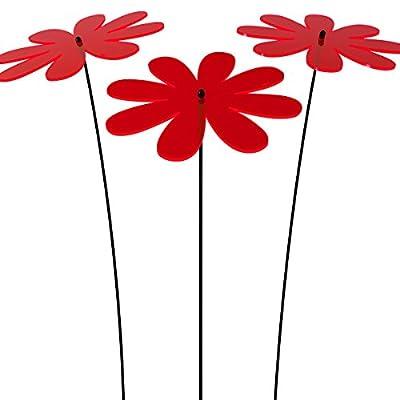"""SUNPLAY Sonnenfänger """"Gänseblümchen"""" in ROT, 3 Stück zu je 20 cm Durchmesser im Set + 70 cm Schwingstäbe von SUNPLAY - Du und dein Garten"""