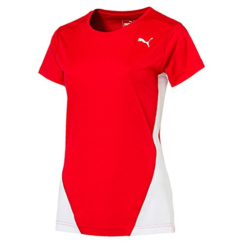 PUMA Mädchen Cross The Line T-Shirt, White Red, 152