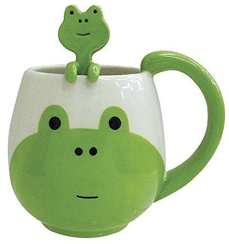 Lovely Cute Cartoon Frog Mug Ceramic Coffee Mug Tea Milk Hot Chocolate Cup ,Frog Spoon,Frog Mat By FLERISE(Green and White)