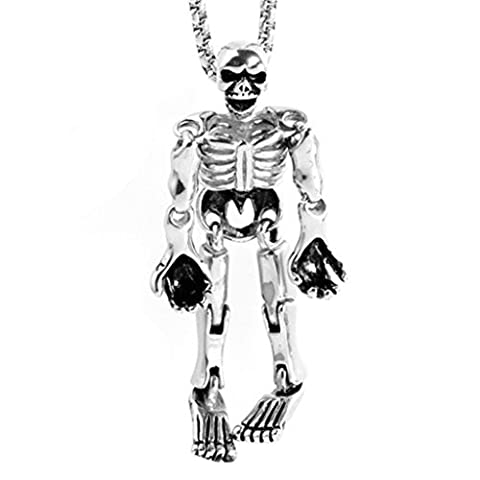 Epinki Fashion Jewelry Stainless Steel Men Necklace Punk Rock Large Skull Silver Pendant Necklace