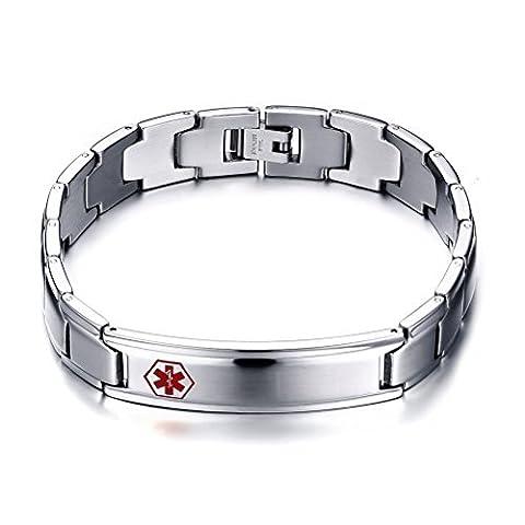 Homme en Acier Inoxydable (gravure gratuit) Medical Bracelet d'identification, largeur: 12mm, 22,1cm