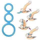 Weka dreifach Erektionsring für steinharten Penis Silikongel Verbesserung der männlichen Erektion Blau