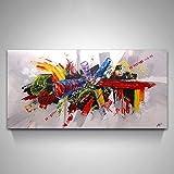 La Vie Abstrakte Wandbild Kunstdruck auf Leinwand Hochwertiger Leinwanddrucke Bilder Moderne Ölbild für Zuhause Wohnzimmer Schlafzimmer Küche Hotel Büro Geschenk 60x120 cm kein Rahmen