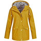 Womens Lightweight Raincoats Unisex Hooded Waterproof Sport Active Outdoor Rain Jackets Windproof Windbreaker Rainwear for Men Ladies Trench Coats (Yellow, 2XL = UK:18 / EU:44)
