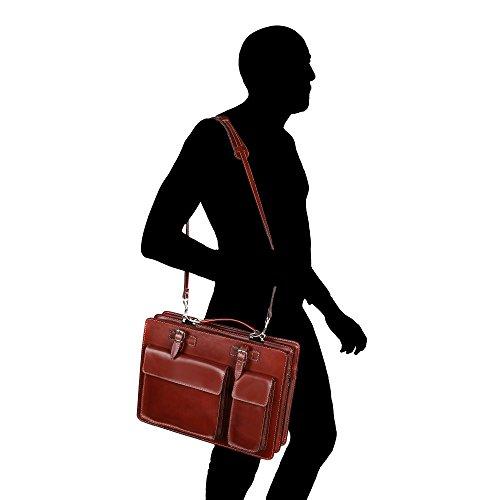 Borsa a Mano Portadocumenti da Lavoro Uomo Donna con Tracolla in Vera Pelle Made in Italy Chicca Borse 38x29x11 Cm Marrone