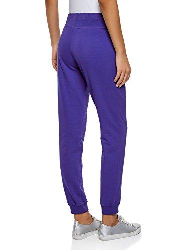 oodji Ultra Damen Jersey-Hose mit Druck Blau (7510P)