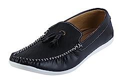 Quarks Tassle Mens Black Synthetic Loafers-9 UK