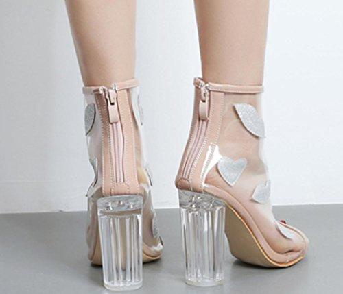 XDGG DONNA trasparenti caricamenti del sistema freddi della bocca dei pesci con le scarpe-Ultra-tacco alto con i sandali Bare Stivali apricot