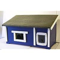 Gato Casa Exterior con ventana y gato Tapa suelo aislado