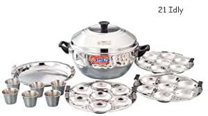 21 Idly - Compact S.S Idly Cooker - FREE 6 Idly cups - Induction Compatible + Flame (Dual)
