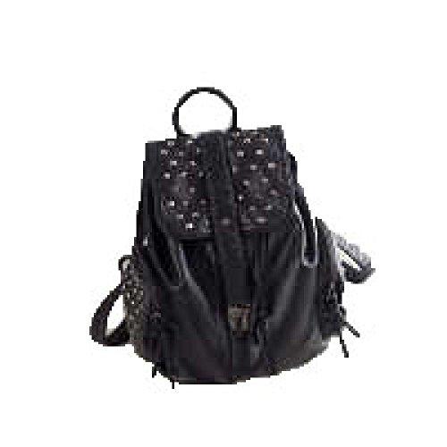 Solid Color Nieten (PACK Schwarze Nieten Schultern Casual Rucksack Punk Mode Gewaschen Leder Solid Color Handtaschen,Black)